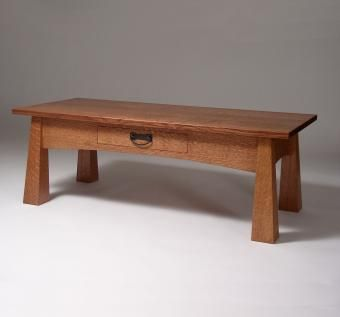 CustomMade by Jack Glisson: This coffee table is constructed of solid quartersawn white oak and finished with a custom-mixed oil stain and varnish.  The reverse-tapered legs are quartersawn on all four faces.
