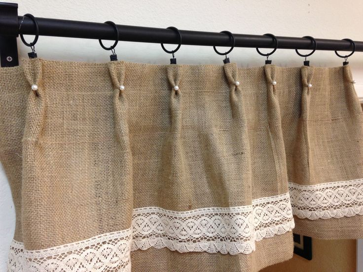 Pearl lace burlap valance/ cafe curtains/short by pillowpuff