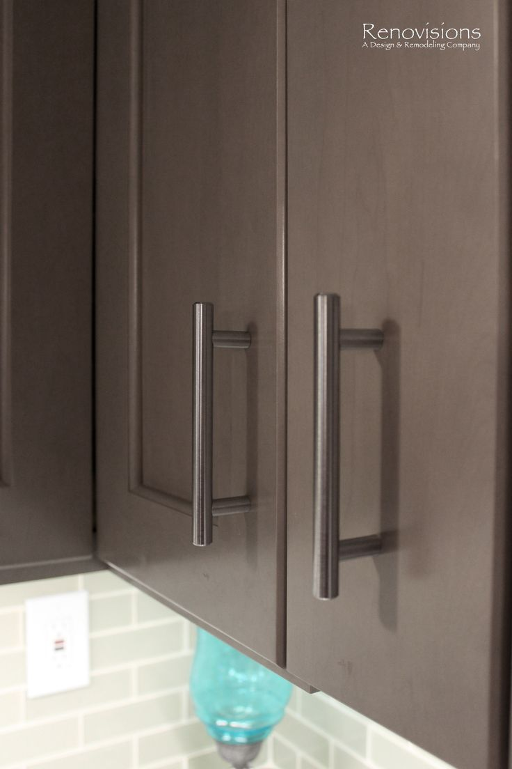 grey cabinet glass subway tile backsplash brushed nickel hardware