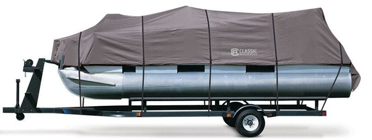 Features:  -Stormpro pontoon boat cover.  -Heavy-duty trailer able pontoon boat cover.  -Integrated buckle and strap system for easy fitting and trail ring—adjustable straps snap into quick-release bu