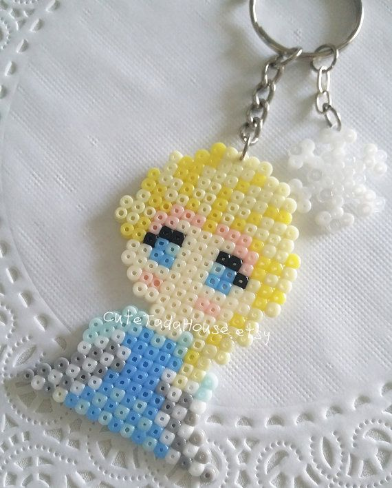 Frozen Elsa keychain perler beads by CuteTadaHouse