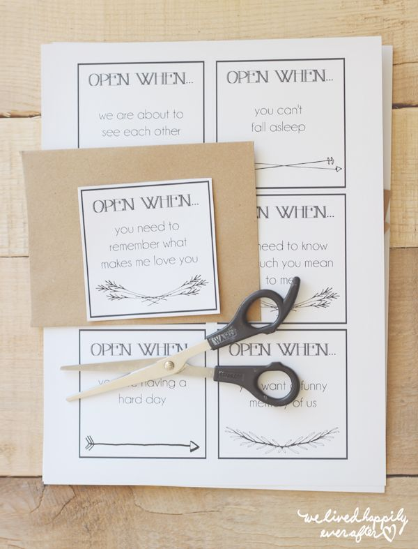 "We Lived Happily Ever After: Printable ""Open When"" Envelope Labels for Long Distance Relationships"