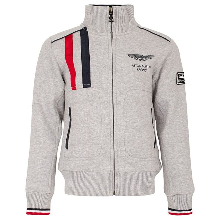 This gray, red and navy Aston Martin Racing full zip jacket by Hackett features an adjustable collar to suit his mood.