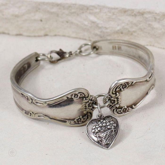 S.I. – Zilveren lepel armband met bloemenmotief – Amerikaanse vintage