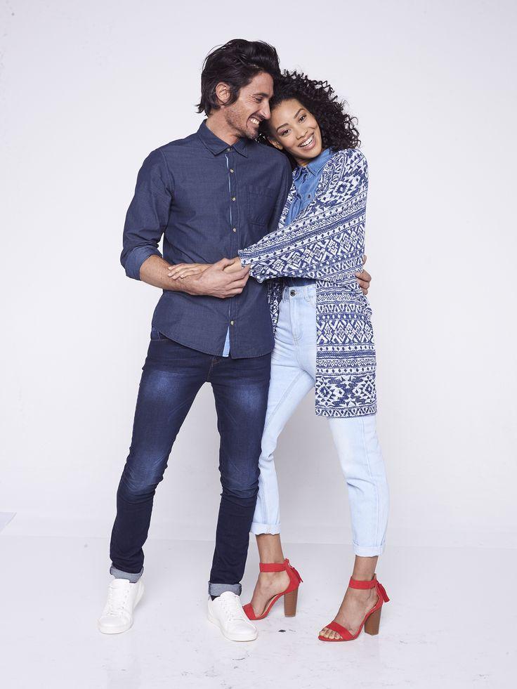 Restez assortis à votre moitié ! Le jean se conjugue à tout les goûts ! #cute #couple #denim #jeans #boyfriend #jacket #shirt #chemise #mode #fashion #model #shooting #smile #love #blue #hug #inspiration #tati
