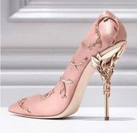 New Arrival 2017 Carving High Heels Shoes Woman Gorgeous Pointed Toe Women Pumps Silk Formal Party W