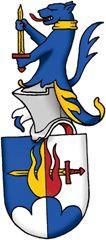 SV-53 Harald Paulsson Registrerat 2009-02-17  (Ansökan 2007:77)  Sköld: I fält, kluvet i blått och silver, en låga kluven i guld och rött, genomborrad av ett bjälkvis ställt svärd av guld med rött fäste och uppskjutande från ett treberg av motsatta tinkturer.     Hjälmtäcke: Blått fodrat med silver och guld.     Hjälmprydnad: En uppstigande blå hund med röd beväring och halsband av guld hållande ett stolpvis ställt svärd av guld med rött fäste med vänster tass om fästet och med höger om…