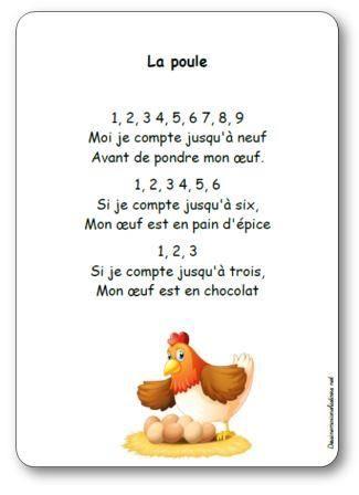 Paroles de la comptine La poule : 1, 2, 3 4, 5, 6 7, 8, 9, Moi je compte jusqu'à neuf, Avant de pondre mon œuf. 1, 2, 3 4, 5, 6, Si je compte jusqu'à six...