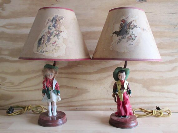 Vintage Lamps 1950s Western Cowboy Kids Bedroom Table Lighting With Celluloid Dolls Mid Century Childrens Room Cowboy Lamp Vintage Lamps Childrens Room Decor