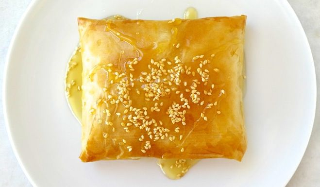 Baked feta in phyllo drizzled with honey