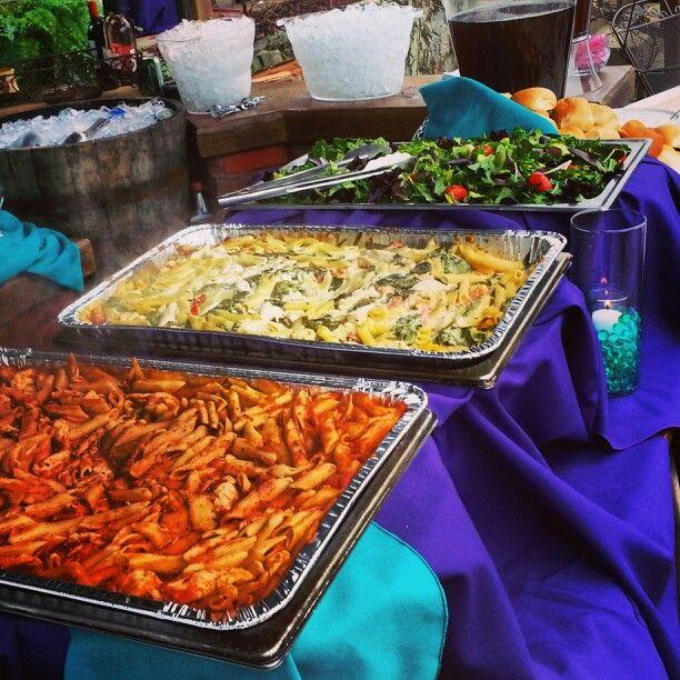 Pasta bar, Outdoor wedding reception