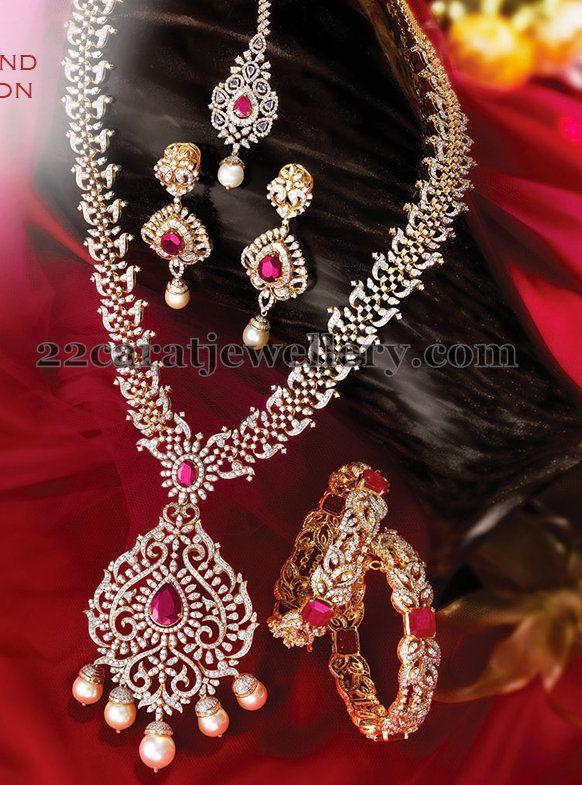 Jewellery Designs: Complete Diamond Set with Tikka