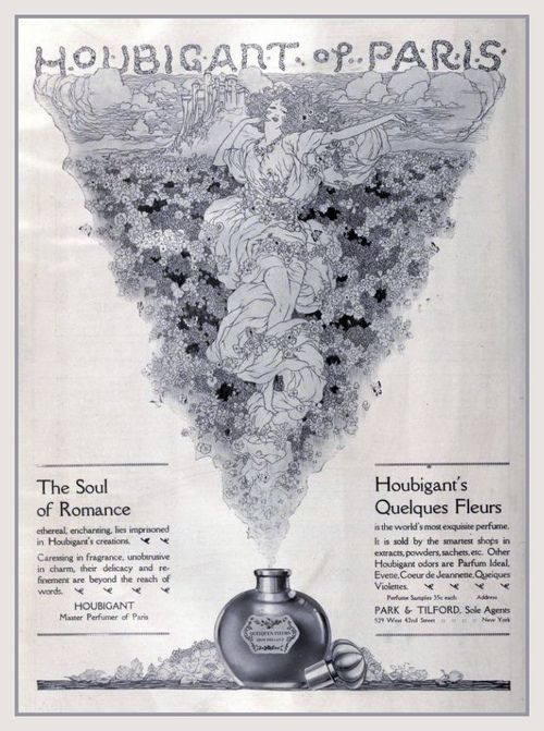Rosina Perfumery  The soul of Romance PARFUMS HOUBIGANT PARIS Quelques Fleurs L'Original , 1918 Vintage Ad  In an era when new perfumes come and go, there is nothing as exquisite as a classic that endures.