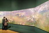 A spectacular grand finale - a display of his three giant water lily paintings, the Agapanthus Triptych of 1916-1919. Each are four metres wide and two metres high. Monet's Agapanthus Triptych is at the Royal Academy, there are about 120 works of which 35 are by Monet. Monet himself thought he was a greater gardener than painter.