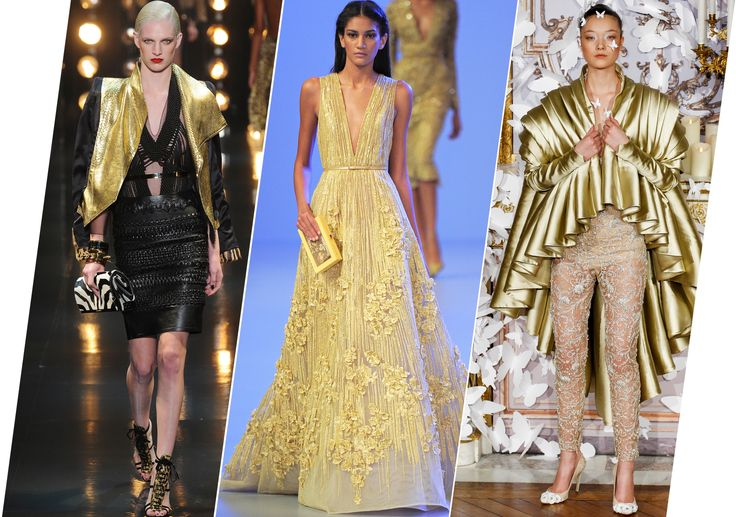 http://media.vogue.com/files/Metals, medals, statuettes, volatile prices per ounce–gold, in various applications, is currently a talking point in the collective social dialogue, and it's showing at the spring 2014 couture shows.