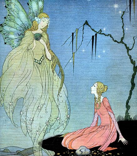 Deco French Fairy Tales Cover--Virginia Sterrett-- Close up of Sublime Fairy and Princess-Fairy Tale Illustration