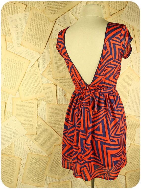 Angle of Opportunity dress / geometric print dress / LAST PIECE / v back / short sleeves / short dress / printed dress / day dress / orange 7