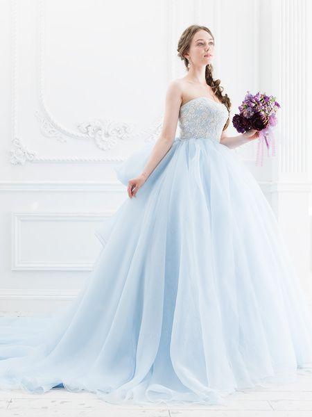 Cinderella & Co.  (シンデレラ・アンド・コー)  ライトブルーがフェアリーなビッグシルエットのカラードレスSS5514LB