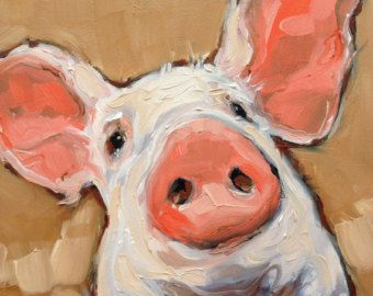 Pig portrait painting, oil on panel.