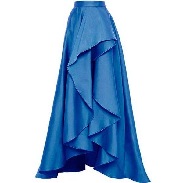 Lisong Women Floor length High Low Satin Ruffles Party Skirt ($39) ❤ liked on Polyvore featuring skirts, ruffle maxi skirt, hi low maxi skirt, blue maxi skirt, short front long back skirt and high low ruffle skirt