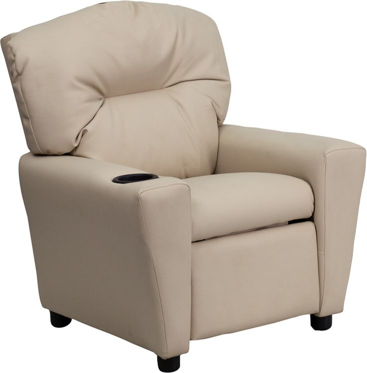 Contemporary Beige Vinyl Kids Recliner with Cup Holder BT-7950-KID-BGE-GG by Flash Furniture