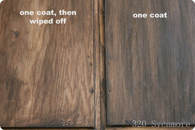 {Old Masters gel stain in Spanish oak}... use foam brush to apply... about 3 days to dry completely