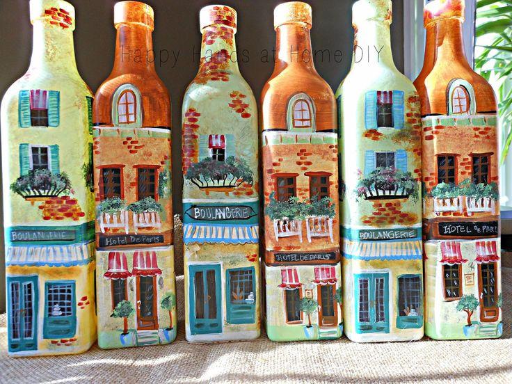 Рук счастливый дом DIY: Бутылки Рубежом !!