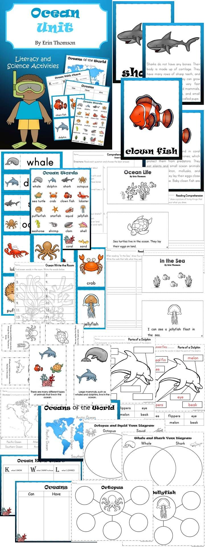 Ocean Literacy and Science Unit for kindergarten and first grade ~ Includes ocean animal facts, activities, and worksheets