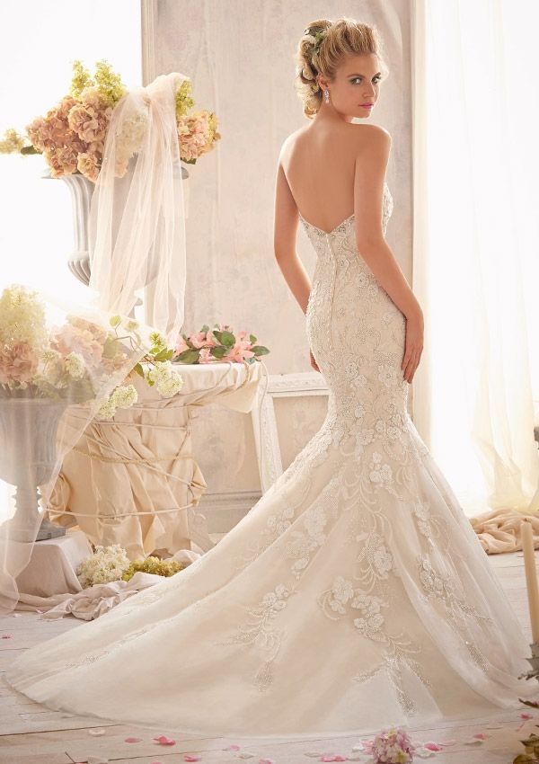 Bridal Gown From Mori Lee By Madeline Gardner Style 2623 Crystal Beaded Embroidery Combined  With Venice Lace Appliqué On Net