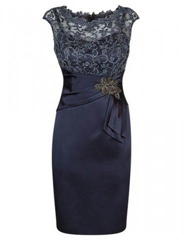 Generous Scoop Short Sleeves Knee-Length Flower Sheath Mother of the Bride Dress with lace