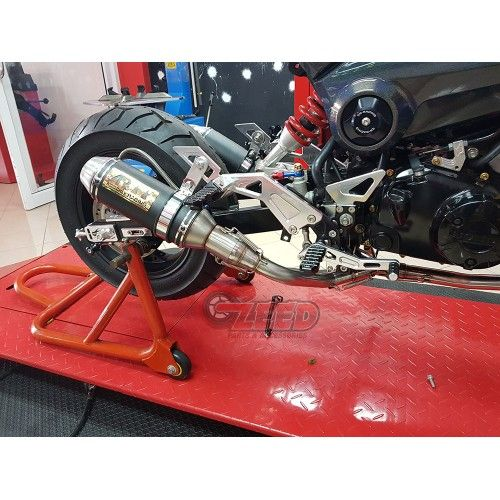 AR double mini low mount exhaust to fit on the Honda Grom and Honda MSX125 for all years 2013 to 2017, Mounts too rearsets,  with removable DB killers, Parts and accessories for the MSX 125.  #hondagrom #hondamsx125 #zeedparts #Grom #honda