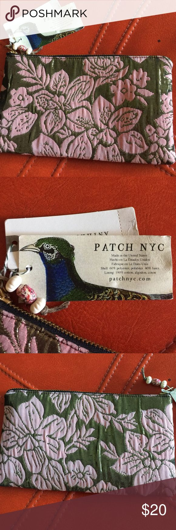 """ANTHROPOLOGIE PATCH NYC COSMETIC BAG MSRP $58-NWT ANTHROPOLOGIE PATCH NYC COSMETIC EVENING BAG - NWT MSRP $58 - COLOR: PINK/ROSE - APPROX. SIZE 8""""W x 4 1/2"""" Anthropologie Patch NYC Bags Cosmetic Bags & Cases"""