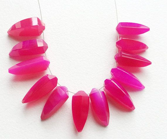 Hot Pink Chalcedony Pink Chalcedony Horn Beads by gemsforjewels