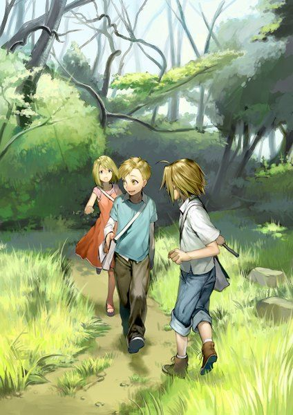 Anime picture 1000x1415 with  fullmetal alchemist edward elric alphonse elric winry rockbell noako (artist) tall image open mouth blonde hair yellow eyes looking back ahoge group grass forest boy children alternate age girl male dress