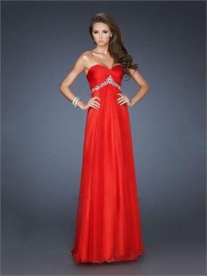 Strapless Sweetheart Ruched Bodice Beaded Empire Chiffon Prom Dress PD11361 www.dresseshouse.co.uk $120.0000