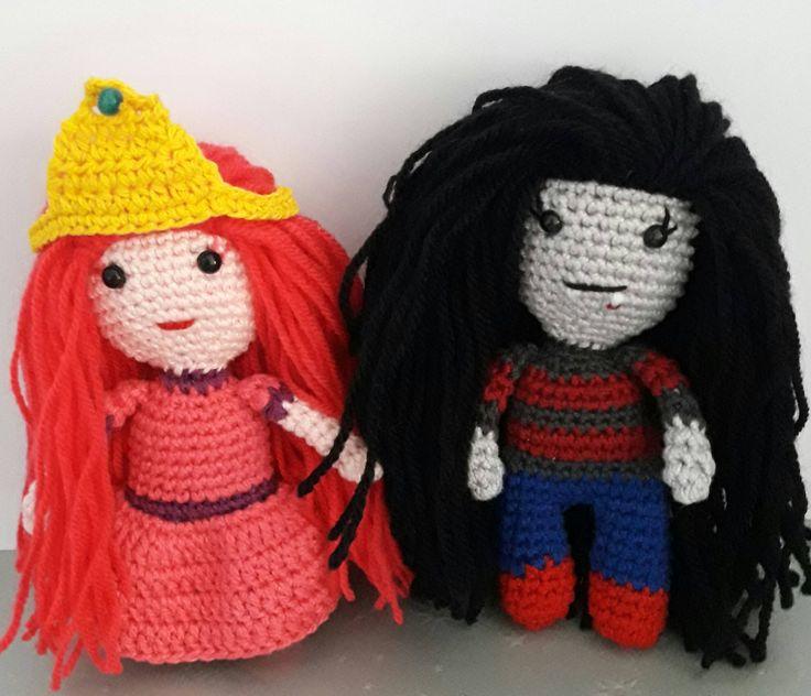 Crochet dolls ,amigurumi, time of adventures, finn the human, jake the dog ,princess bubble gum ,marcelin ,measure about 15-16cm de naimacrochethandmade en Etsy