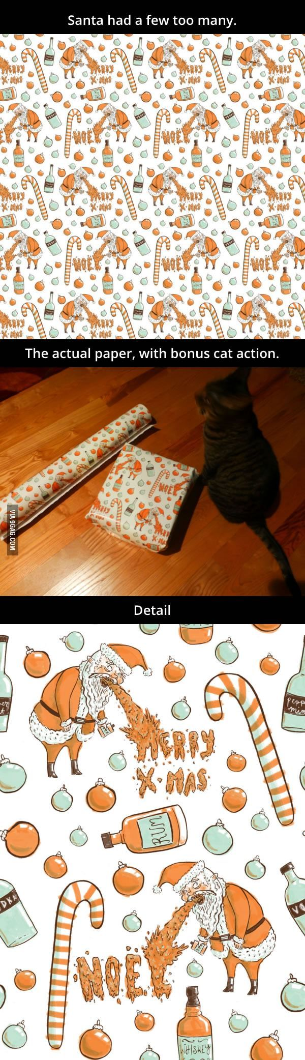 She designed some Christmas wrapping paper. Her mom has forbidden her from wrapping any family gifts with it...