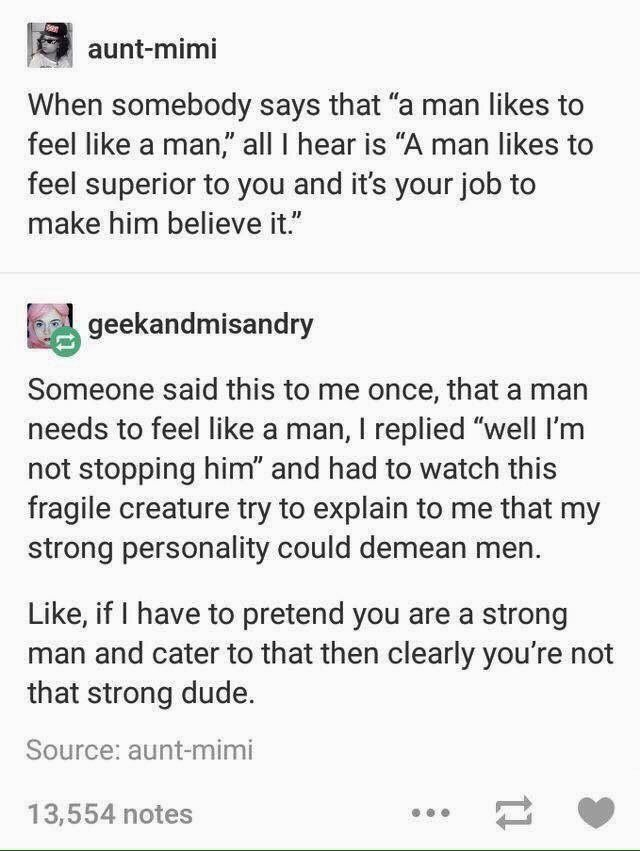 """I read """"A man like to feel a man"""" and i was like 'Alright, cool for that dude.' but then i re-read it... and now i'm disapointed. but geekandmisandry makes an excellent point."""