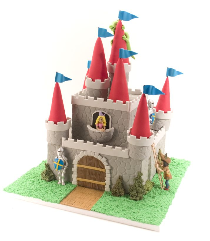Castle Cake With Princess Knight And Dragon