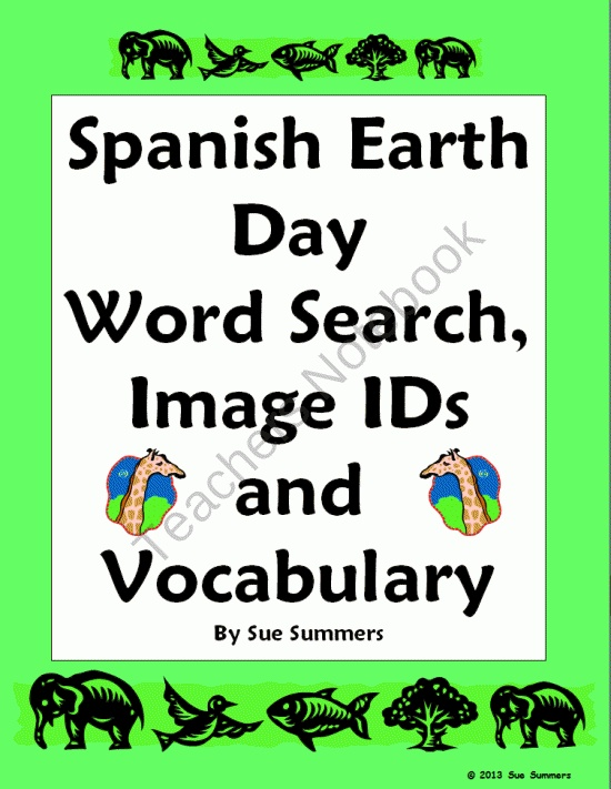 Earth Day Spanish Word Search and 30 Word Bilingual Vocabulary List from Sue Summers on TeachersNotebook.com (3 pages)  - Earth Day Spanish Word Search and 30 Word Bilingual Vocabulary List