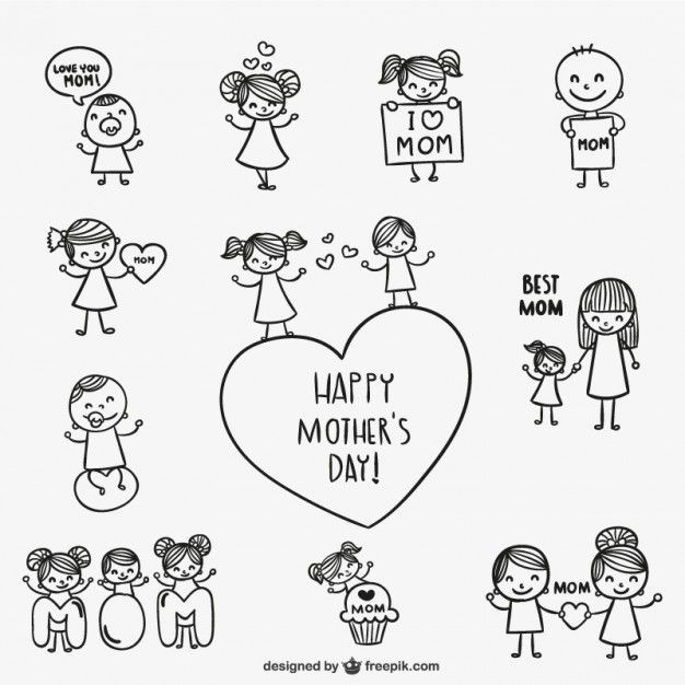 drawings for Mother's Day. Great to paste in cards students make.