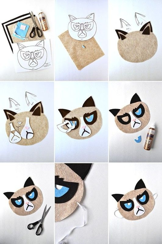 How to make a mask. Grumpy Cat Mask - Step 1