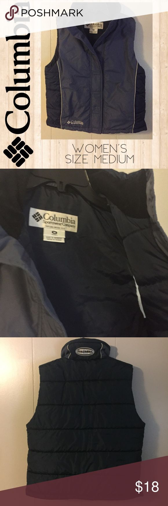 "Columbia Ski Vest EUC Like new! Women's Columbia brand ski/snow (snowmobile?) vest in excellent condition! Dark grayish blue, navy blue and black fleece trim around inside collar. Very soft like down feathers. Velcro closure. Very clean. No flaws!  Length is approximately 24"" Bust (armpit to armpit) is approximately 20 1/2"" Lots of nice, name brand women's, men's and children's clothing available in my closet. I love to give discounts for bundle purchases! Columbia Jackets & Coats Vests"