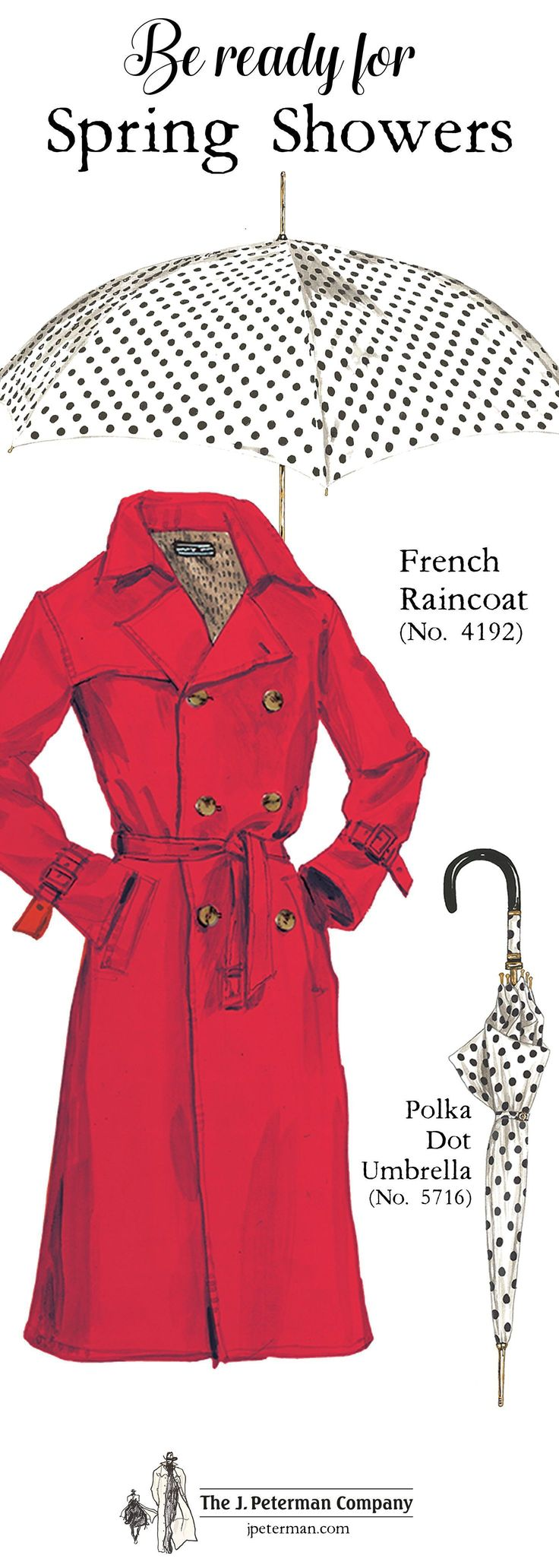 French Raincoat (No. 4192). Spotted in a shop in the Marais; gives me flashbacks to A Woman Is a Woman and Umbrellas of Cherbourg. Water repellent cotton-nylon blend, fully lined. Trim double-breasted trenchcoat-style, with front flap, adjustable cuffs, notched collar and deep back vent. Polka Dot Umbrella (No. 5716). Regal brass hardware. Decorative polka dot piece above black handle. #RaincoatsForWomenPolkaDots