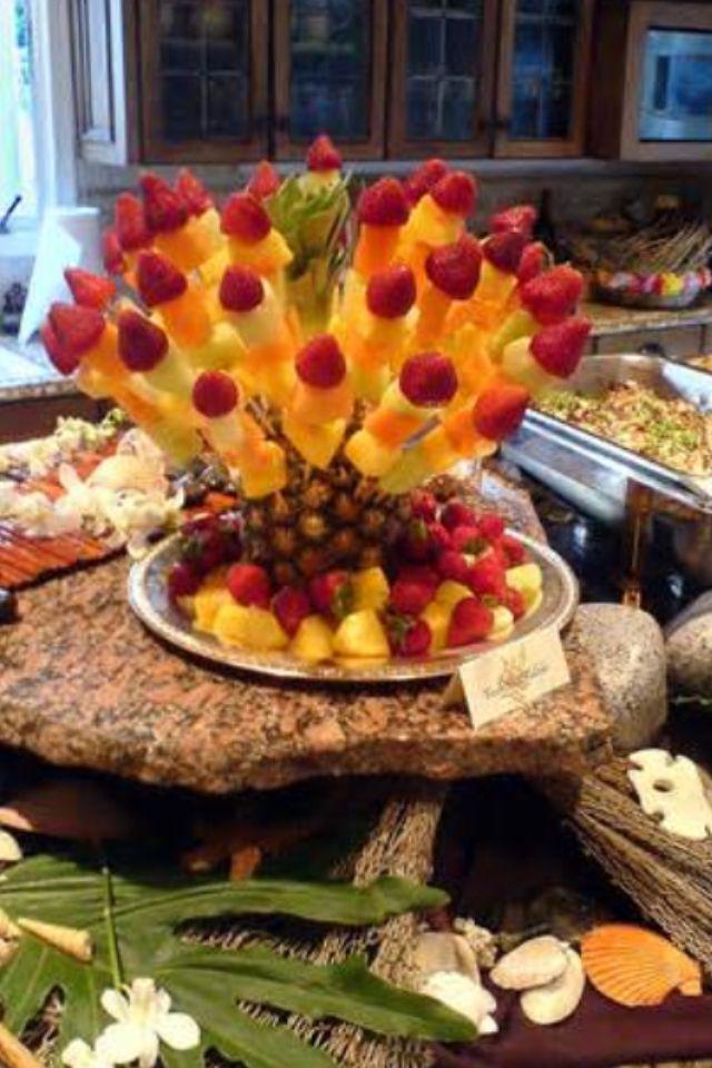 Decor fruit luau hawaiian themed party pinterest for Plaque decorative cuisine