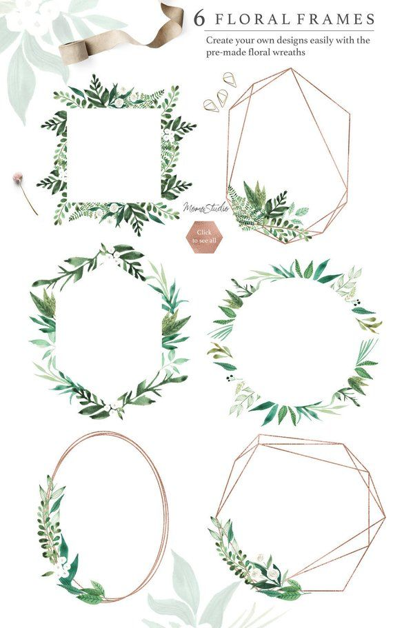 Watercolor Floral Frames: Digital Spring Summer Greenery Frames Printable / Wedding Invitation Clip