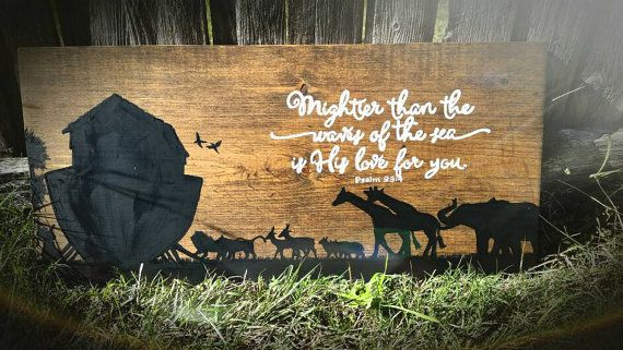 Noah's Ark wood sign. Nursery Art. Boys room by LisaJoyDesignCo