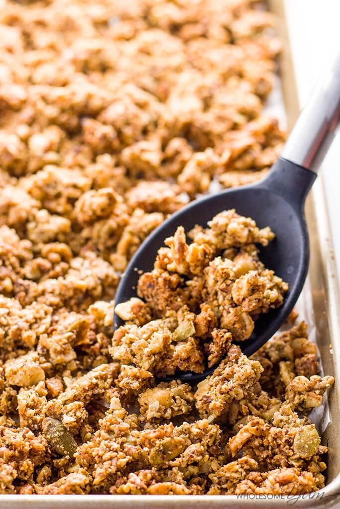 Low Carb Granola Cereal (Paleo, Gluten-free, Sugar-free) - This paleo low carb granola cereal takes just 10 minutes of prep time for a big batch! It's super easy, and stores for a long time for an instant breakfast.