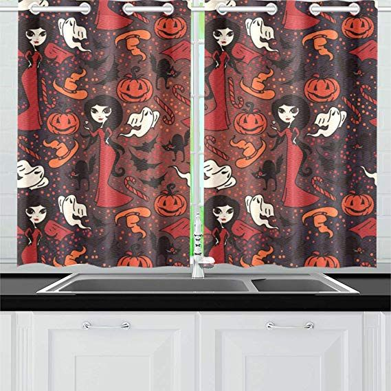 Interestprint Blackout Window Curtain Cute Doodle Ghosts Kitchen Bedroom Window Drapes 26 Quot X39 Quot Two Piece Curtain Room Kitchen Curtains Window Curtains