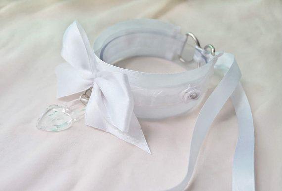 Snow White Collar  Kitten play collar por SpoiledKittenShop en Etsy